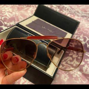 Oscar De La Renta rose gold red agate sunglasses